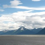 Trying to see the bore tide, we at least got great views of the Turnagain Arm.