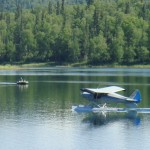 They were coming across the lake, when one of the planes was taxiing prior to take off.