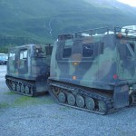 Classic tracked vehicle with trailer.