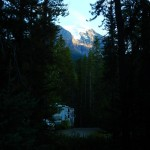 This is our campsite in the trees with peaks above.