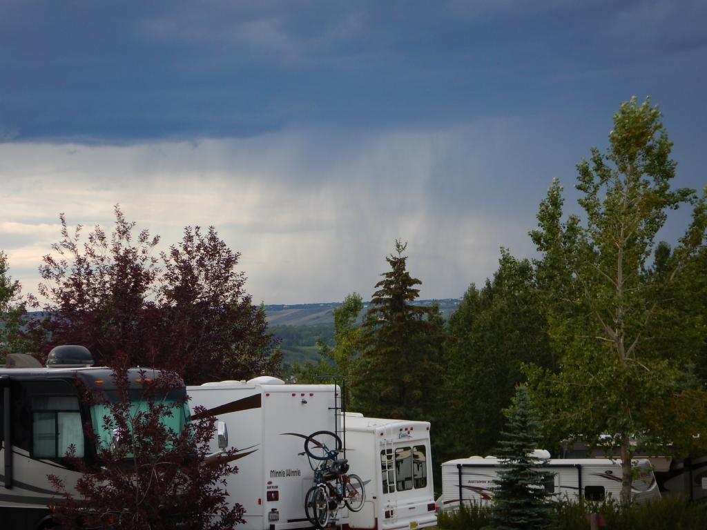 The night we got there was rainy and dark. The RV park is on a hill, and we had a top row site.