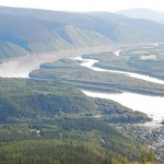 View of the Yukon River and Dawson City from Midnight Dome.