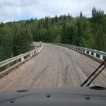 The last, and only, curved wooden bridge still open to traffic. This is a 10 mile section of the old hiway that can be driven for fun. We were the only vehicle out there.
