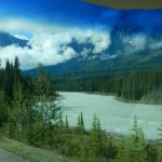 A glacial river through the windshield.
