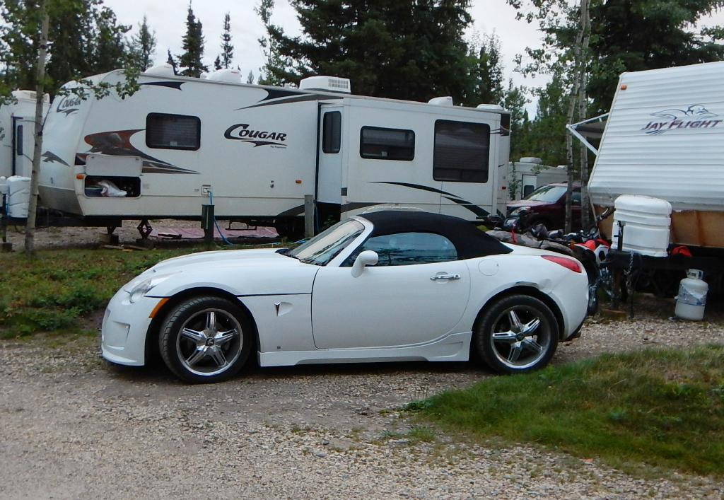 Some cars in the RV parks can't have towed their trailers.