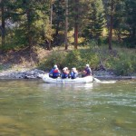 No fishing from boats is allowed on this river, but rafting is popular.